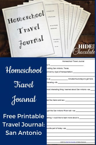 Homeschool Travel Journal Printable - San Antonio